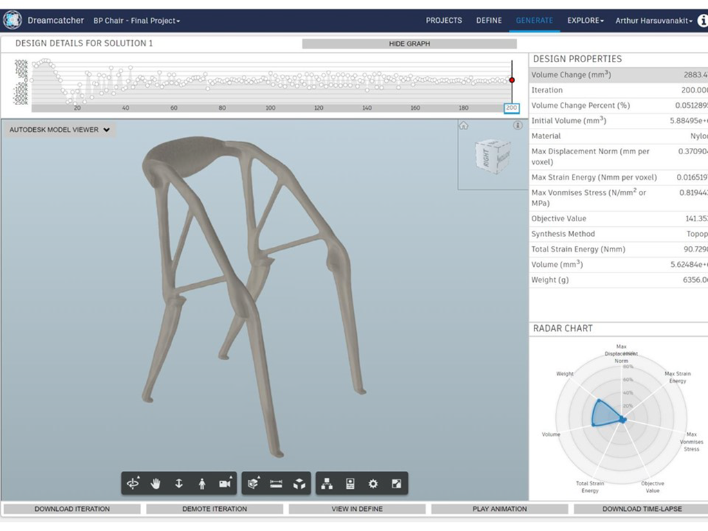 Fusion 360 and Project Dreamcatcher Elbo Chair - It is Alive