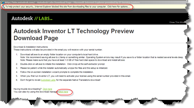 Autodesk Inventor LT Technology Preview Download Dialog - It