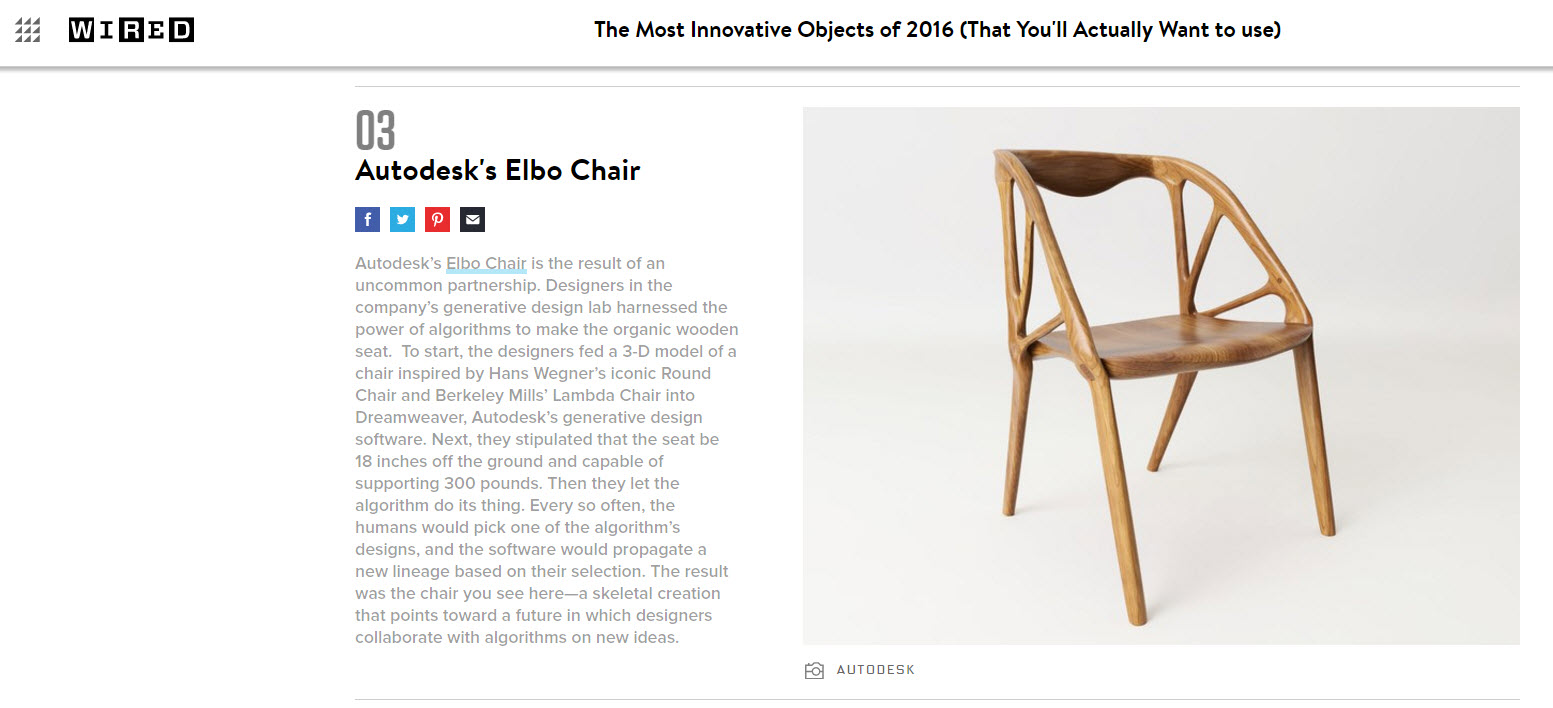 WIRED Magazine: Autodesk generatively-designed chair is the third ...
